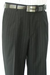 ID#BNC723 Superior fabric crafted professionally Dress Slacks / Trousers Dark color black Stripe Pleated creased Open Bottom Pants