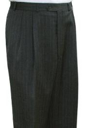 ID#KBX732 Superior fabric crafted professionally Dress Slacks / Trousers Grey Stripe Pleated creased Pre-Cuffed Bottoms Pants