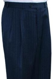 ID#JAR834 Superior fabric crafted professionally Dress Slacks / Trousers navy blue colored Stripe Pleated creased Pre-Cuffed Bottoms Pants
