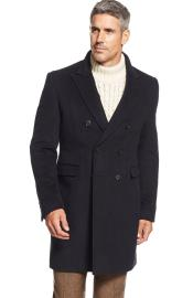 ID#DB21700 Ralph Lauren Navy Long Mens Dress Topcoat -  Winter coat Double-Breasted Wool Blend Solid Overcoat