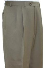 ID#TEH931 Superior fabric crafted professionally Dress Slacks / Trousers Tan - Beige Pleated creased Pre-Cuffed Bottoms Pants