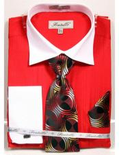 ID#DB23264 Spread Collar White French Cuffed Red Classic Fit Dress Cheap Fashion Clearance Shirt Sale Online For Men