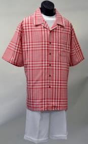 ID#DB17304 Short Sleeve Red Polyester Set Checked Pattern Walking Suit