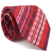 ID#KA6589 Slim red pastel color Glen Classic Neck Groomsmen Ties with Matching Handkerchief - Tie Combo