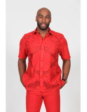 ID#DB16732 Red Fashionable Crochet Embroidered Linen Casual Dress Shirt