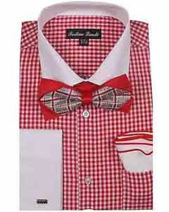 ID#SM1192 Checks Design red pastel color Hanky Dress Cheap Fashion Clearance Shirt Sale Online Gingham Shirt - Checker Pattern - French Cuff - White Collared + Free Bowtie
