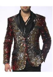 Paisley Fashion Blazer Red/Gold/Silver/Black