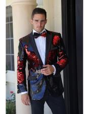 Red Paisley Patterned Tuxedo