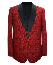 ID#DB24648 Christmas Blazer for Men Red Paisley  1 Button Sport Coat Fancy Party Blazer Suit Jacket For Men
