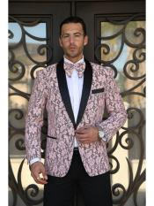 ID#SP25280 Floral Pattern Paisley Sport Coat Blazer Affordable Cheap Priced Unique Fancy For Men Available Big Sizes on sale Shawl Lapel Dinner Jacket Patterned Tuxedo Pink Blazer