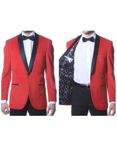 ID#PN_P66 Single Buttons Mens Velvet Jacket Suede / Graduation Homecoming Outfits With Dark black Trim Shawl Collar Dinner Jacket red Best Cheap Blazer Affordable Sport Coats Sale - Red Tuxedo