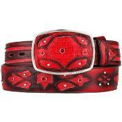ID#AA528 red pastel color Original Lizard skin Teju Skin Fashion Western Belt