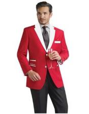 ID#SM289 Prom ~ Wedding Groomsmen Red Suit Prom pastel color and White Collared - Red Tuxedo