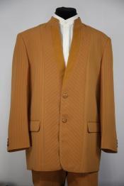 ID#DB23835 Camel Mandarin Collar Rhinestone Accents Cross Stripe Zoot Suit
