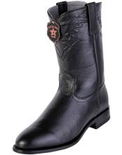 ID#DB17266 Roper Toe Handcrafted Black Los Altos Style Genuine Elk Formal Shoes For Men Leather Dress Cowboy Boot Cheap Priced For Sale Online