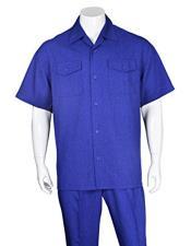 ID#VJ16797 Casual Short Sleeve 2 Pieces Walking Suits With Matching Pleated Pants Royal Blue