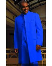 ID#DB22022 Mandarin Collar 10 Button Royal Blue Matrix Style 45 Inch Full Length Suit