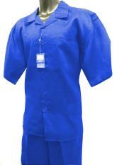 ID#DB17675 2 Piece Royal Blue Short Sleeve Solid Linen Walking Suit Best Cheap Blazer For Men Affordable Sport Coats Sale