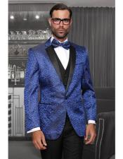 ID#DB17189 Three Piece Shiny Royal Blue Modern Fit One Button Fashion Prom Outfit ~ Wedding Groomsmen Tuxedo Statement Suits Flat Front Pants