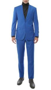 ID#SM814 2 Piece Classic Notch Collared Royal Fully Lined Inexpensive ~ Cheap ~ Discounted Clearance Sale Extra Slim Fit Prom Suit