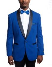 ID#KO19349 Button Closure Royal Light Blue Perfect for wedding Knitted Slim Fit Tuxedo Jacket with Black Shawl Lapel Best Cheap Blazer Suit Jacket For Affordable Cheap Priced Unique Fancy For Big Sizes on sale Men Affordable Sport Coats Sale