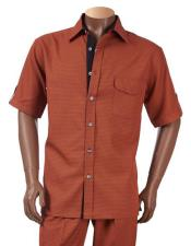 Button Short Sleeve Rust