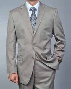 Twill-pattern 2-button Khaki Suit