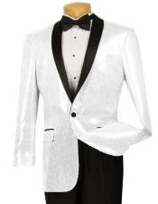 ID#DB20756 Sequin ~ Shiny Paisley Black Lapel Blazer ~ Sport Coat White Dinner Jacket