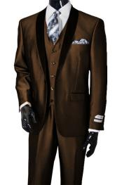 Lapel Sharkskin Dark Brown