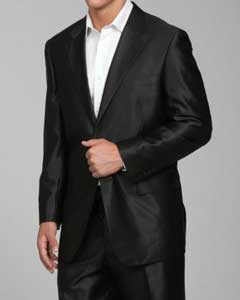 ID#SH22 Shiny Dark color black 2-button Cheap Priced Fitted Tapered cut - men's Sharkskin Suit
