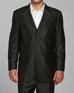 ID#SH22 Shiny Dark color black Three buttons Suit - Mens Sharkskin Suit