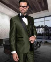 ID#DB24668 1 Button Shiny Prom ~ Wedding Groomsmen Tuxedo Modern Fit 3 ~ Three Piece Vested Cheap Discounted Suit Dark Olive Green