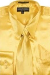 Gold Shiny Silky Satin Dress Cheap Fashion Clearance Shirt Sale Online For Men/Tie