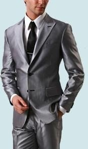 ID#LAN_SH77 Shiny Sharkskin Silver Gray Wedding / Prom Outfit Two buttons Style Dark color black Single Buttons Peak Collared Wool fabric Cheap Priced Fitted Tapered cut Suit Jacket Flat Front Pants New Style