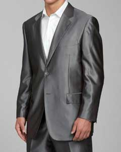 ID#SH22 Shiny Grey 2-button Cheap Priced Fitted Tapered cut Suit
