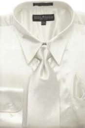ID#AG442 Ivory Shiny Silky Satin Dress Cheap Fashion Clearance Shirt Sale Online For Men/Tie