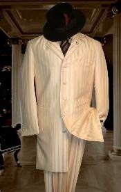 ID#HIN2059 Shiny Ivory~OFF White~Cream tone on tone Shadow Stripe ~ Pinstripe Striped Fashion Zoot Wedding Suits For Men For Sale