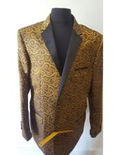 ID#KO17749 Paisley Jacket ~ Shiny ~   Khaki Dinner Jacket Patterned Tuxedo Looking Fashion Fancy Party Best Cheap Blazer For Affordable Cheap Priced Unique Fancy For Men Available Big Sizes on sale Men Sport Coats Sale