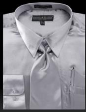 ID#DB15752 Shiny Light Gray Satin Fabric Dress Cheap Fashion Clearance Shirt Sale Online For Men Tie