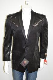 ID#AC-688 Satin Shiny Sequin Glitter One Button Best Cheap Blazer For Affordable Cheap Priced Unique Fancy For Men Available Big Sizes on sale Men Affordable Sport Coats Sale Jacket Shawl Collar Man Made Fiber Dark color black