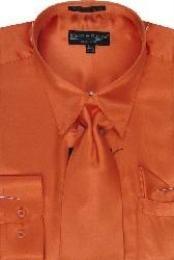 ID#UH122 Orange Shiny Silky Satin Dress Cheap Fashion Clearance Shirt Sale Online For Men/Tie