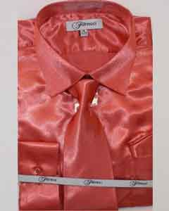 Fer_SH1 Shiny Luxurious Cheap Fashion Clearance Shirt Sale Online For Men Coral ~ Peach
