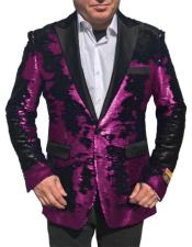 ID#DB22410 Fuchsia Shiny Sequin Glitter Tuxedo Black 1 Button Sport Coat