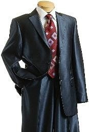 ID#XC9014 Sharkskin Shiny Sheen Two buttons Dark Blue Sharkskin Suit