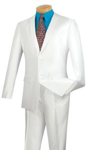 ID#BC-52 Prom ~ Wedding Groomsmen Tuxedo & Formal Shiny All White Trimmed Inexpensive ~ Cheap ~ Discounted Clearance Sale Extra Slim Fit Prom Suits for Men Fitted Style
