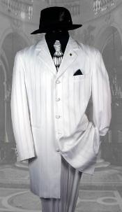 Mens White Pinstripe Suit
