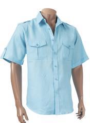 Blue Short Sleeve 100%