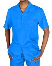 Piece Short Sleeve Blue