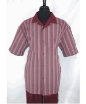 ID#DB24141 5 Burgundy Suit Buttons Stripe Pattern Short Sleeve Burgundy Prom Wedding Shirt