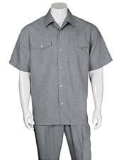 ID#VJ16795 Gray 2 Pieces Casual Short Sleeve Walking Suits With Pleated Pants